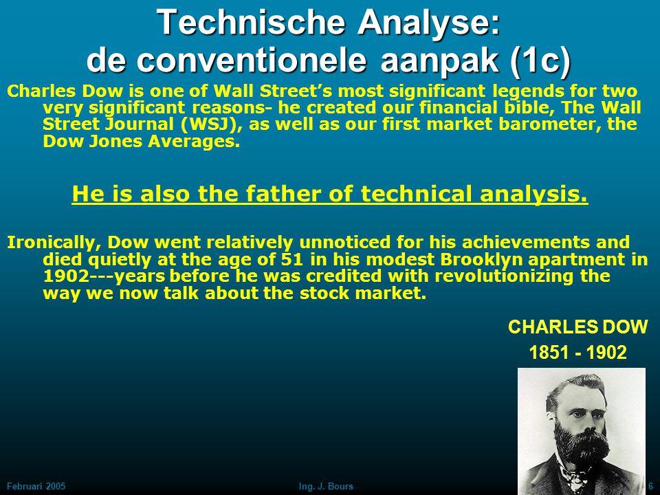 Februari 20055Ing. J. Bours Technische Analyse: de conventionele aanpak (1b) CHARLES DOW 1851 - 1902 Dow's philosophy of investing has been described