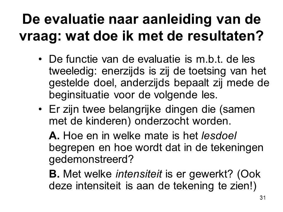 31 De evaluatie naar aanleiding van de vraag: wat doe ik met de resultaten? De functie van de evaluatie is m.b.t. de les tweeledig: enerzijds is zij d