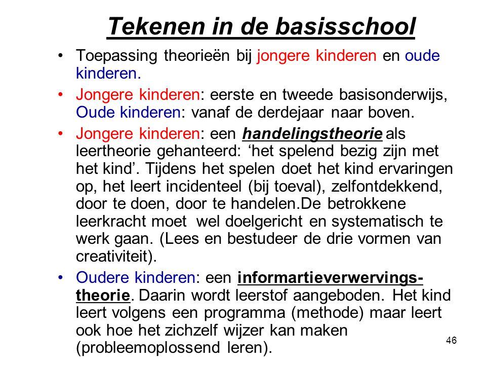 46 Tekenen in de basisschool Toepassing theorieën bij jongere kinderen en oude kinderen. Jongere kinderen: eerste en tweede basisonderwijs, Oude kinde