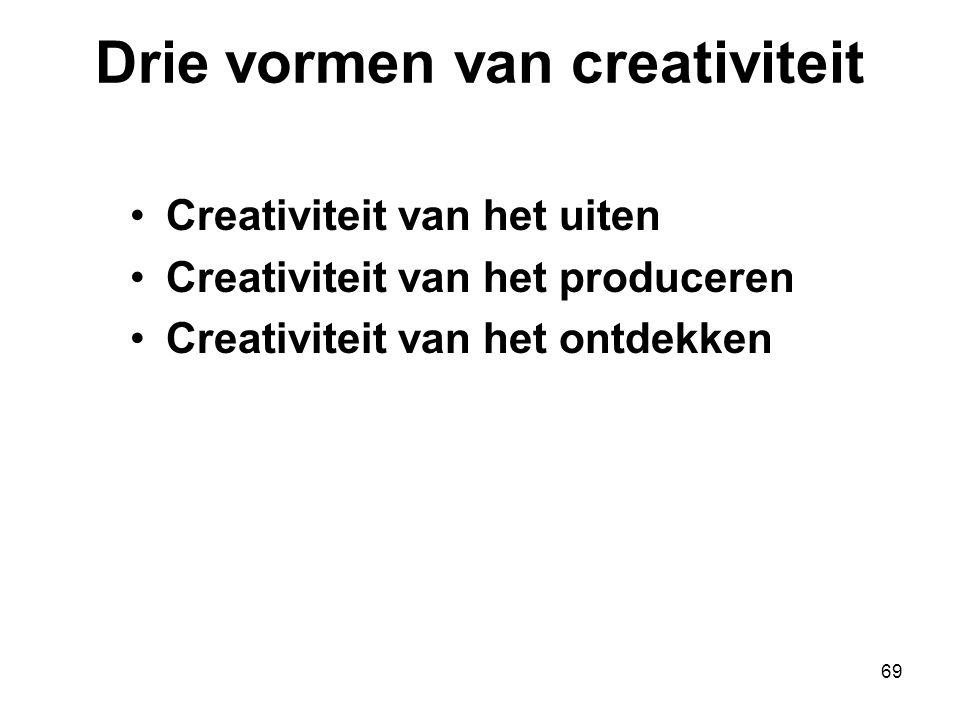 69 Drie vormen van creativiteit Creativiteit van het uiten Creativiteit van het produceren Creativiteit van het ontdekken