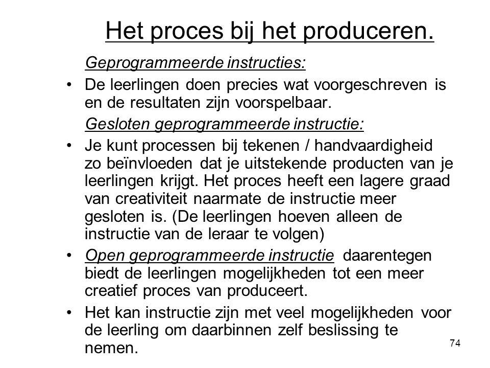 74 Het proces bij het produceren. Geprogrammeerde instructies: De leerlingen doen precies wat voorgeschreven is en de resultaten zijn voorspelbaar. Ge