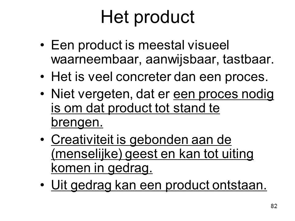 82 Het product Een product is meestal visueel waarneembaar, aanwijsbaar, tastbaar. Het is veel concreter dan een proces. Niet vergeten, dat er een pro
