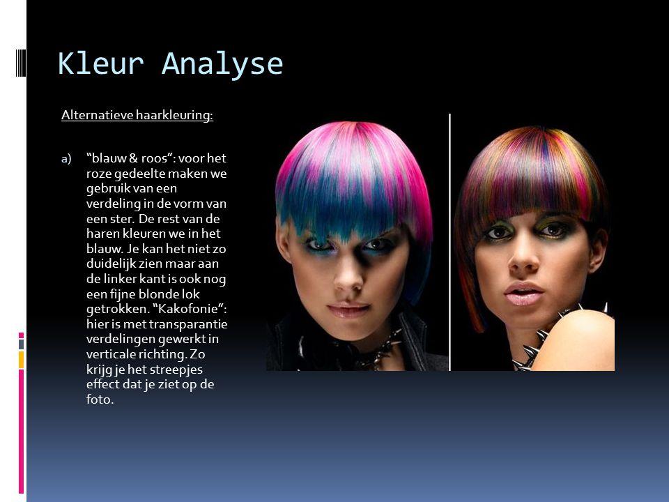 """Kleur Analyse Alternatieve haarkleuring: a) """"blauw & roos"""": voor het roze gedeelte maken we gebruik van een verdeling in de vorm van een ster. De rest"""