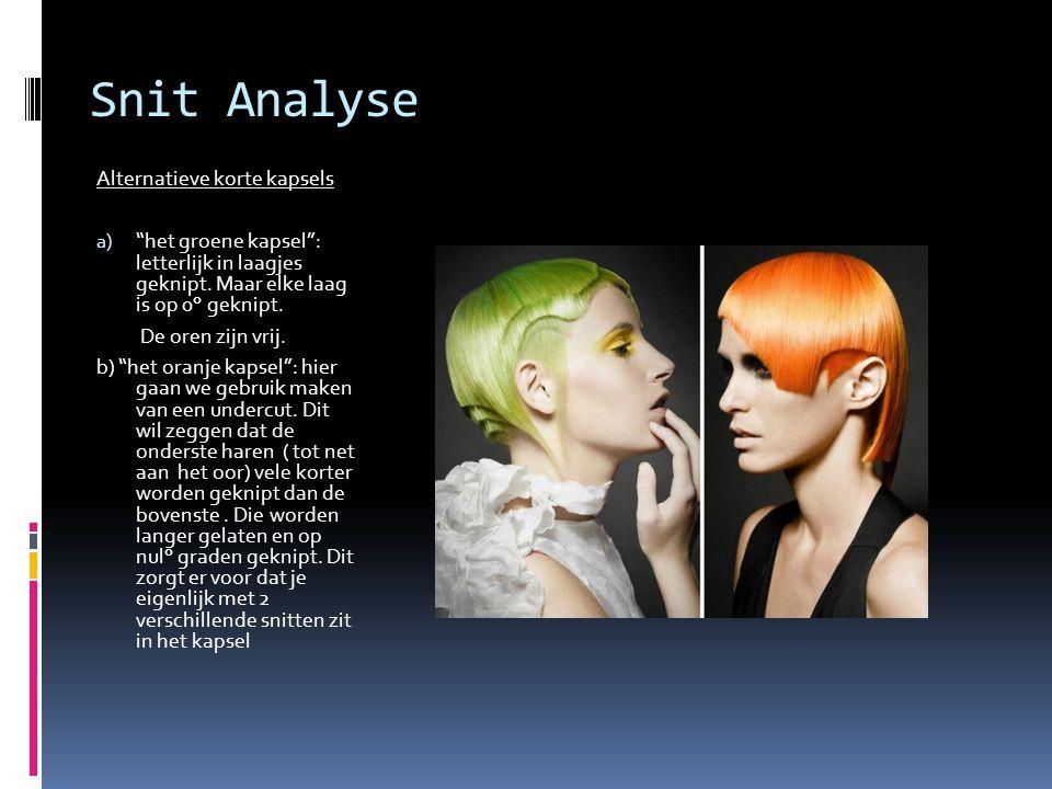 "Snit Analyse Alternatieve korte kapsels a) ""het groene kapsel"": letterlijk in laagjes geknipt. Maar elke laag is op 0° geknipt. De oren zijn vrij. b)"