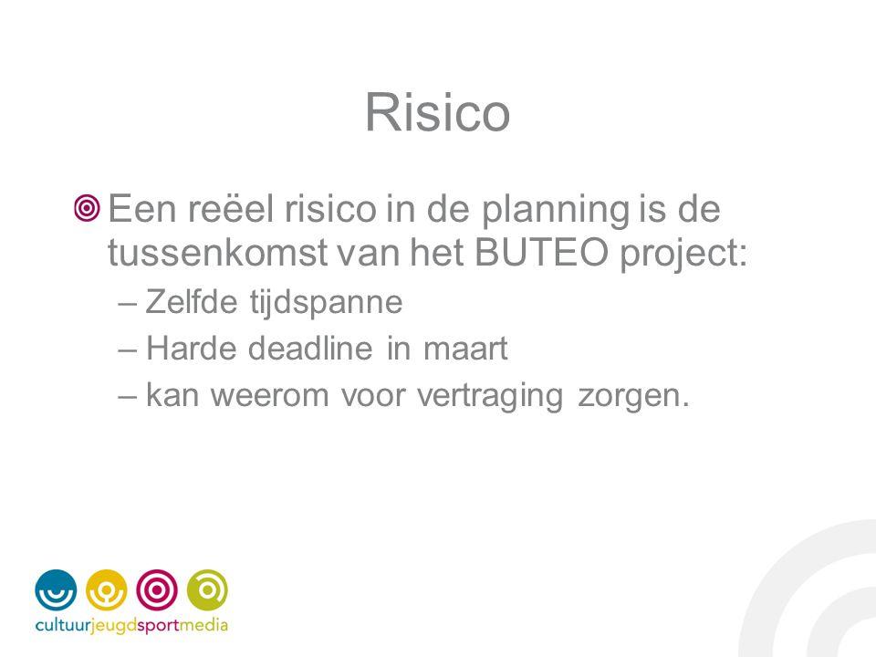 Risico Een reëel risico in de planning is de tussenkomst van het BUTEO project: –Zelfde tijdspanne –Harde deadline in maart –kan weerom voor vertraging zorgen.