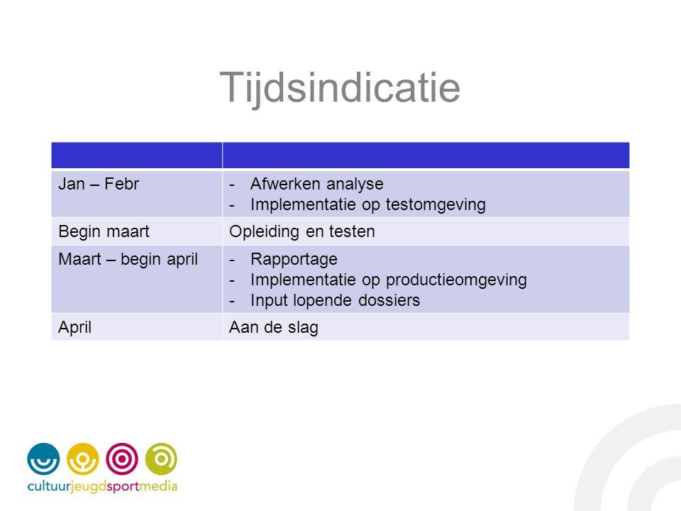 Tijdsindicatie Jan – Febr-Afwerken analyse -Implementatie op testomgeving Begin maartOpleiding en testen Maart – begin april-Rapportage -Implementatie op productieomgeving -Input lopende dossiers AprilAan de slag