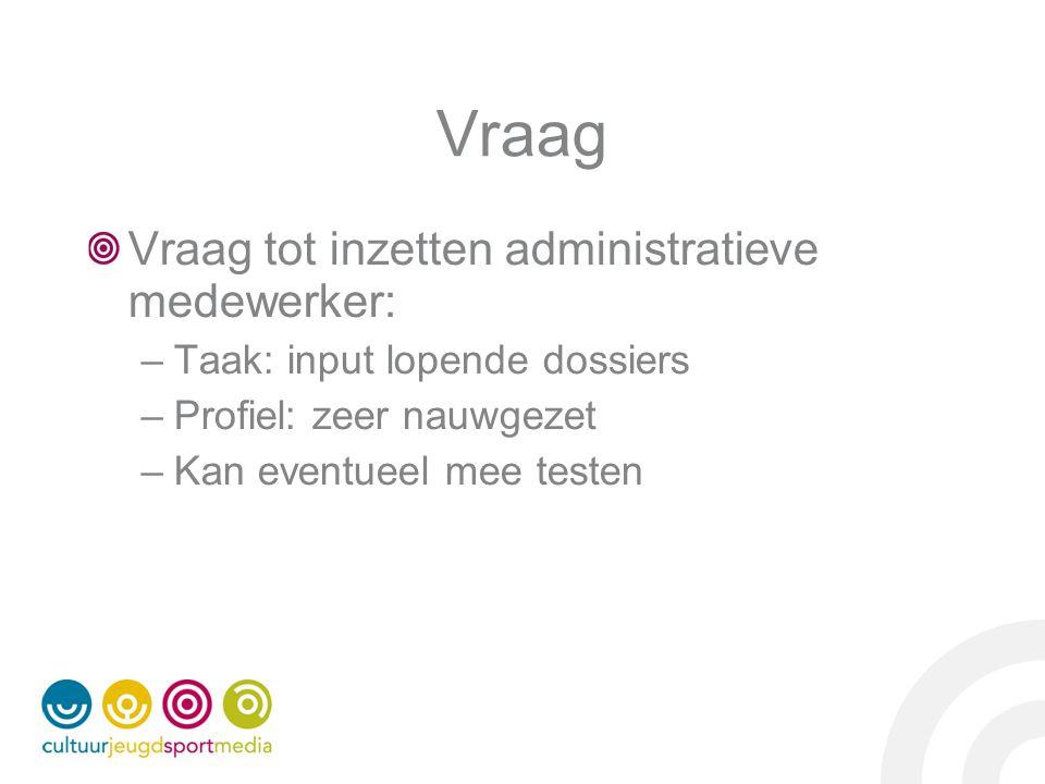 Vraag Vraag tot inzetten administratieve medewerker: –Taak: input lopende dossiers –Profiel: zeer nauwgezet –Kan eventueel mee testen