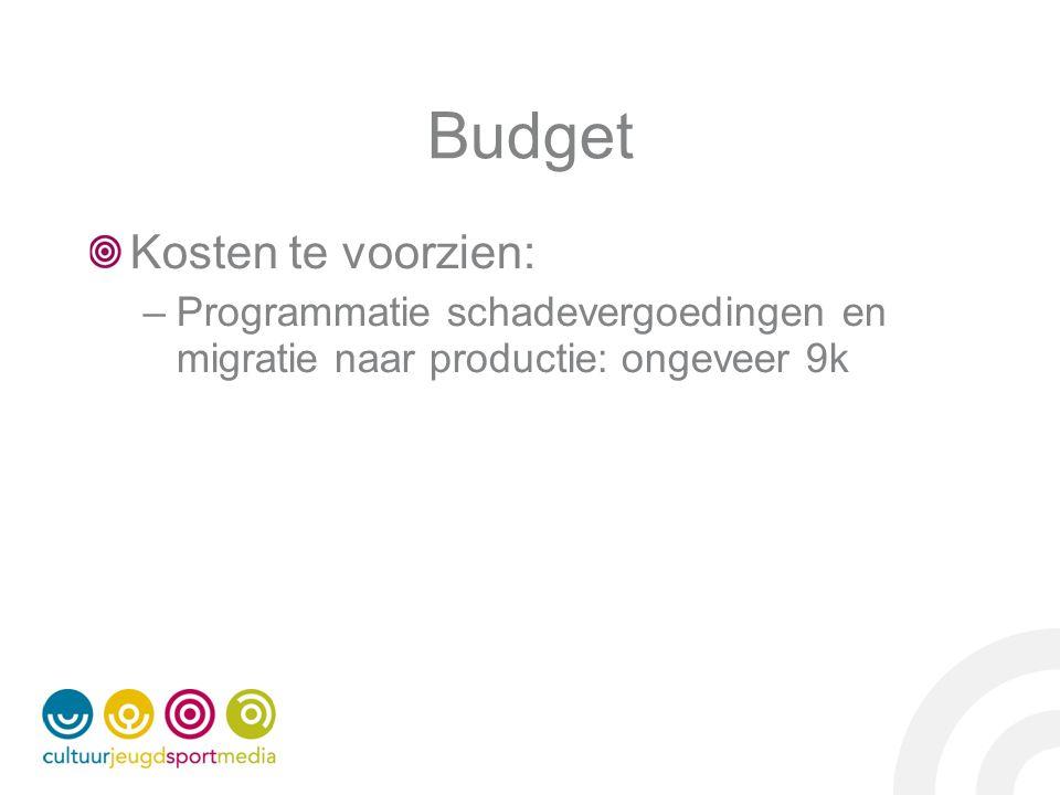Budget Kosten te voorzien: –Programmatie schadevergoedingen en migratie naar productie: ongeveer 9k