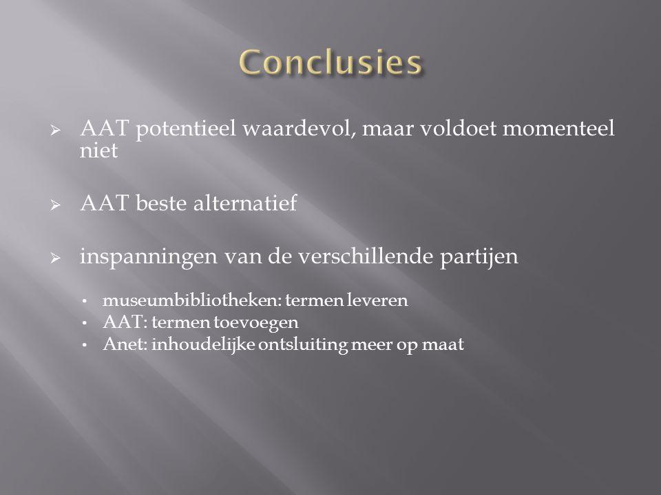  AAT potentieel waardevol, maar voldoet momenteel niet  AAT beste alternatief  inspanningen van de verschillende partijen museumbibliotheken: termen leveren AAT: termen toevoegen Anet: inhoudelijke ontsluiting meer op maat