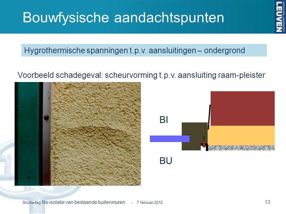 Bouwfysische aandachtspunten 13 Studiedag Na-isolatie van bestaande buitenmuren - 7 februari 2012 Hygrothermische spanningen t.p.v. aansluitingen – on