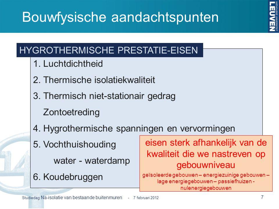 Bouwfysische aandachtspunten 7 Studiedag Na-isolatie van bestaande buitenmuren - 7 februari 2012 1. Luchtdichtheid 2. Thermische isolatiekwaliteit 3.