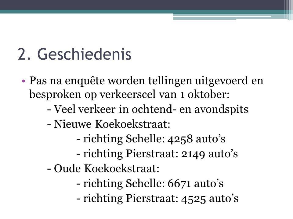 2. Geschiedenis Pas na enquête worden tellingen uitgevoerd en besproken op verkeerscel van 1 oktober: - Veel verkeer in ochtend- en avondspits - Nieuw