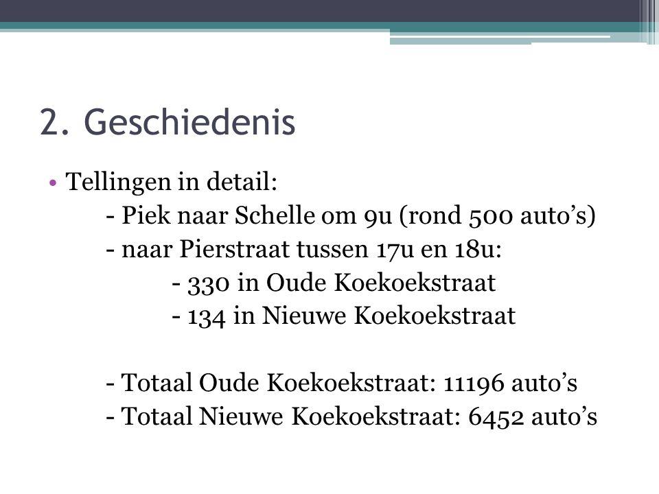 Tellingen in detail: - Piek naar Schelle om 9u (rond 500 auto's) - naar Pierstraat tussen 17u en 18u: - 330 in Oude Koekoekstraat - 134 in Nieuwe Koekoekstraat - Totaal Oude Koekoekstraat: 11196 auto's - Totaal Nieuwe Koekoekstraat: 6452 auto's