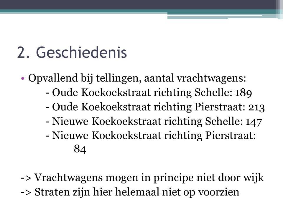 2. Geschiedenis Opvallend bij tellingen, aantal vrachtwagens: - Oude Koekoekstraat richting Schelle: 189 - Oude Koekoekstraat richting Pierstraat: 213