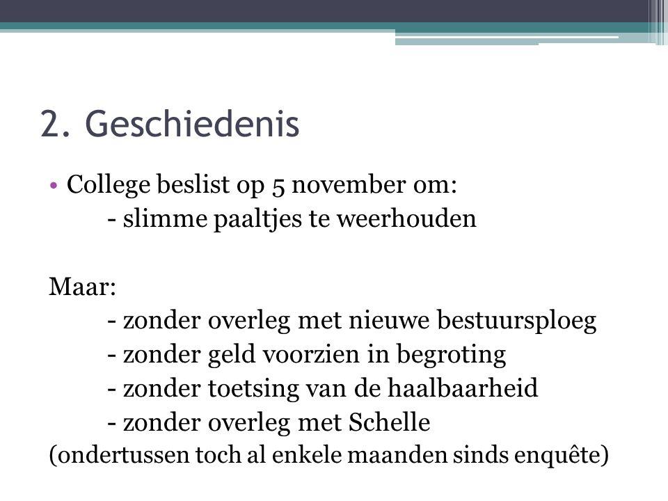 2. Geschiedenis College beslist op 5 november om: - slimme paaltjes te weerhouden Maar: - zonder overleg met nieuwe bestuursploeg - zonder geld voorzi