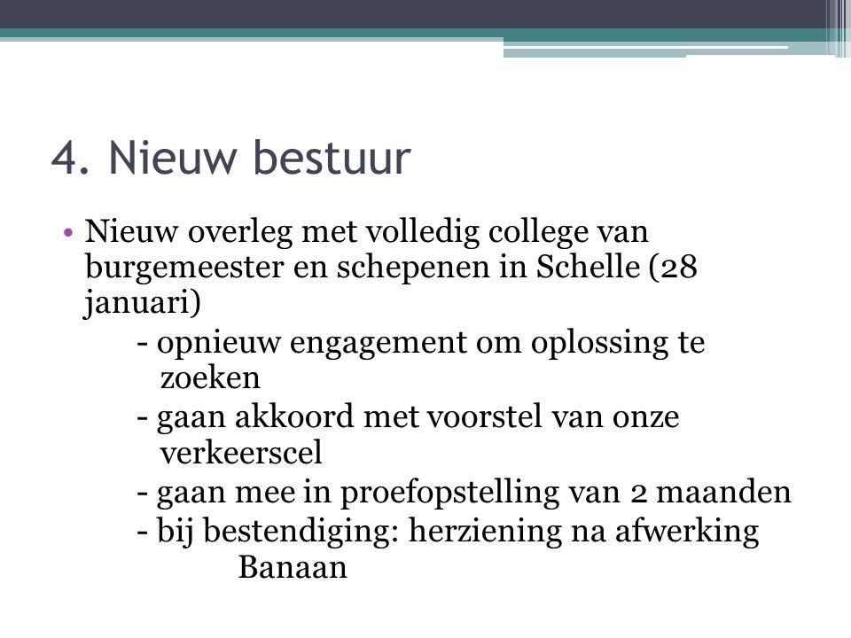 4. Nieuw bestuur Nieuw overleg met volledig college van burgemeester en schepenen in Schelle (28 januari) - opnieuw engagement om oplossing te zoeken