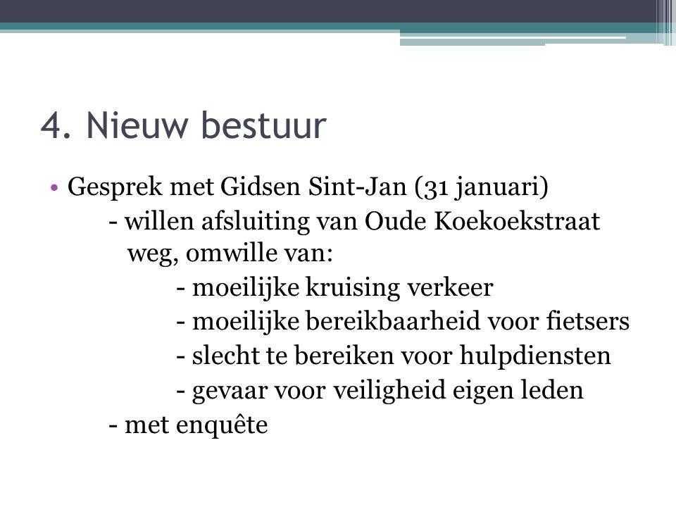 4. Nieuw bestuur Gesprek met Gidsen Sint-Jan (31 januari) - willen afsluiting van Oude Koekoekstraat weg, omwille van: - moeilijke kruising verkeer -