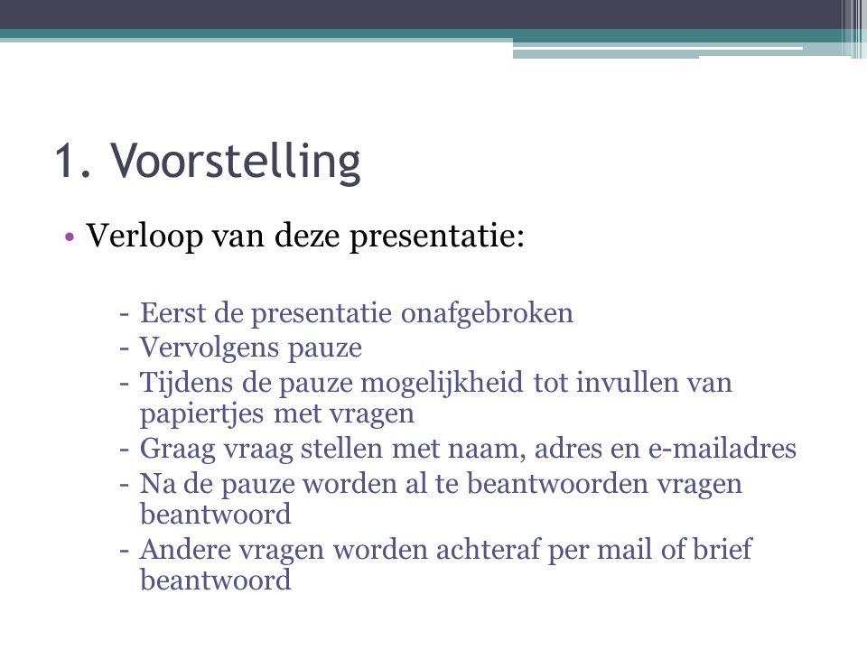 1. Voorstelling Verloop van deze presentatie: -Eerst de presentatie onafgebroken -Vervolgens pauze -Tijdens de pauze mogelijkheid tot invullen van pap