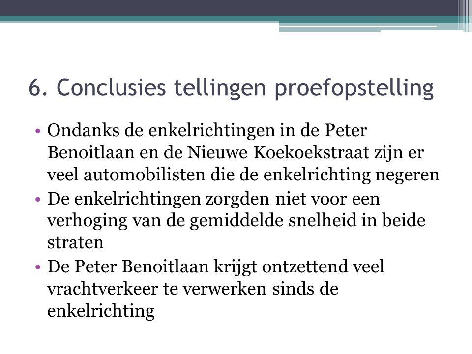 6. Conclusies tellingen proefopstelling Ondanks de enkelrichtingen in de Peter Benoitlaan en de Nieuwe Koekoekstraat zijn er veel automobilisten die d
