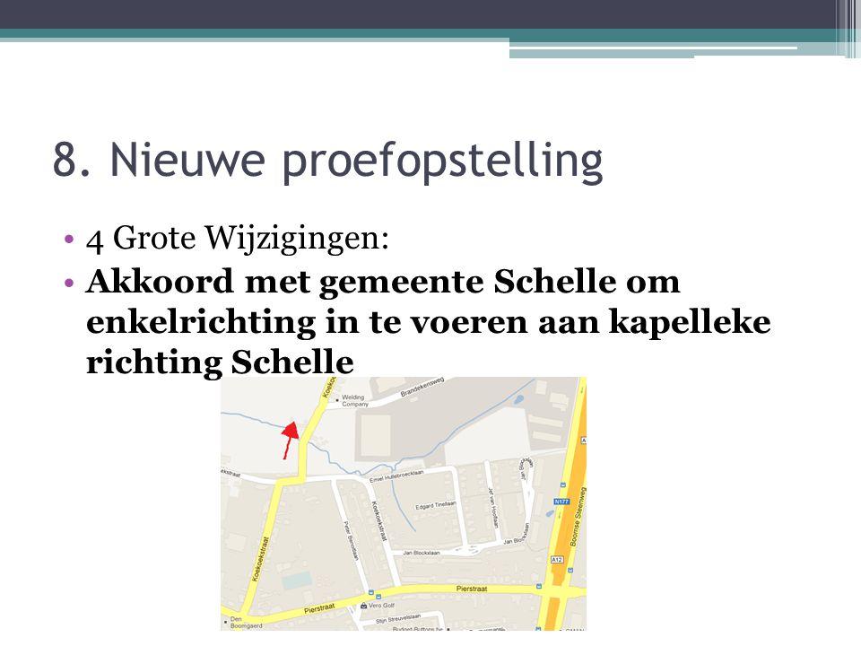 8. Nieuwe proefopstelling 4 Grote Wijzigingen: Akkoord met gemeente Schelle om enkelrichting in te voeren aan kapelleke richting Schelle