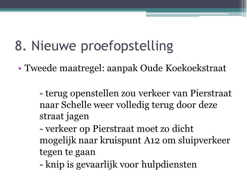 8. Nieuwe proefopstelling Tweede maatregel: aanpak Oude Koekoekstraat - terug openstellen zou verkeer van Pierstraat naar Schelle weer volledig terug