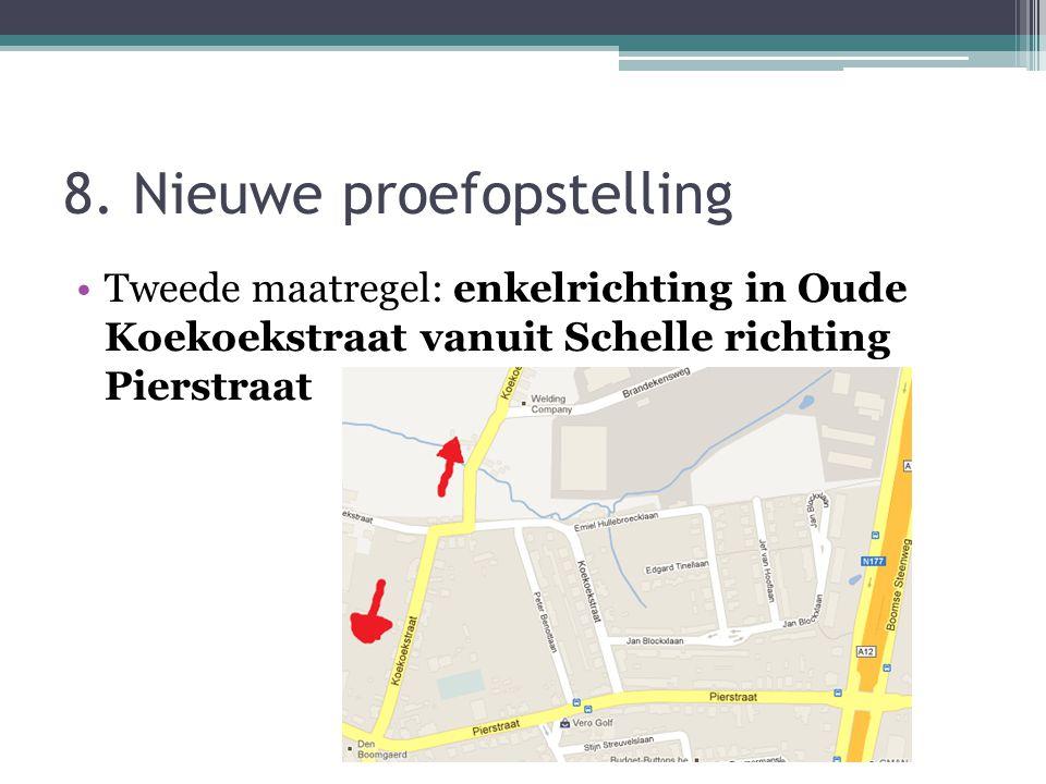 8. Nieuwe proefopstelling Tweede maatregel: enkelrichting in Oude Koekoekstraat vanuit Schelle richting Pierstraat