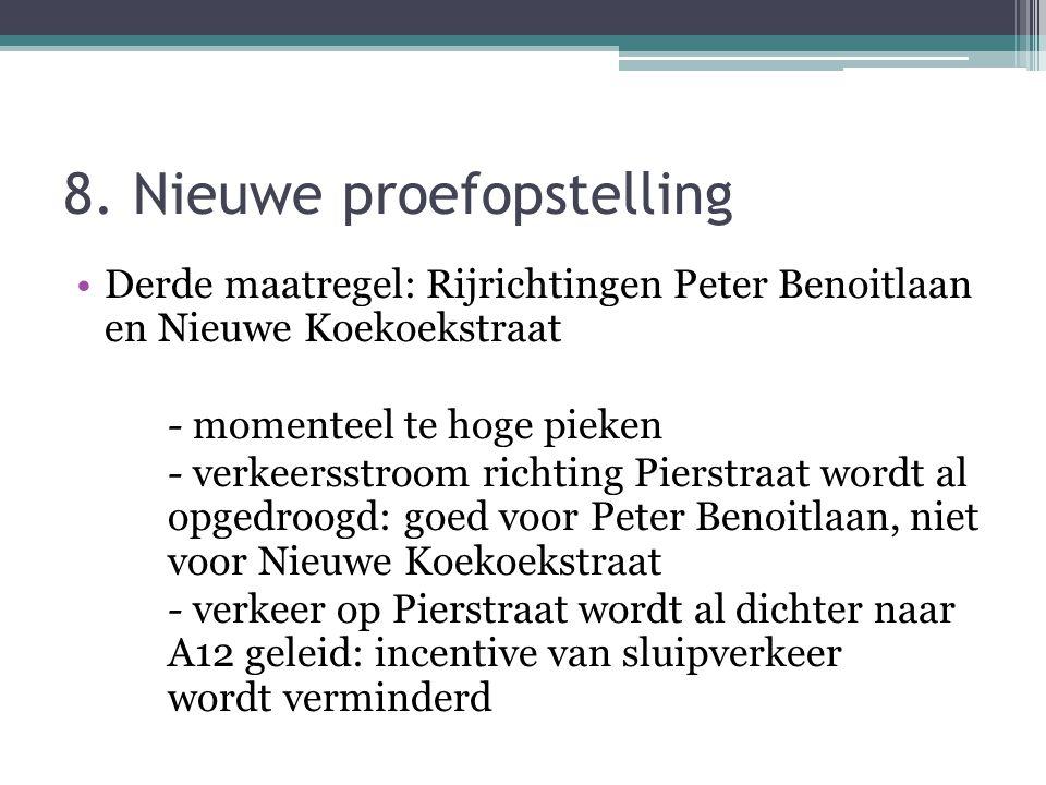 8. Nieuwe proefopstelling Derde maatregel: Rijrichtingen Peter Benoitlaan en Nieuwe Koekoekstraat - momenteel te hoge pieken - verkeersstroom richting