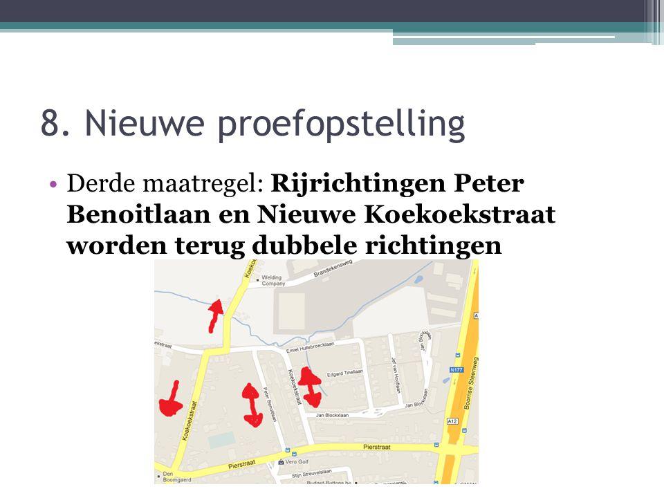8. Nieuwe proefopstelling Derde maatregel: Rijrichtingen Peter Benoitlaan en Nieuwe Koekoekstraat worden terug dubbele richtingen