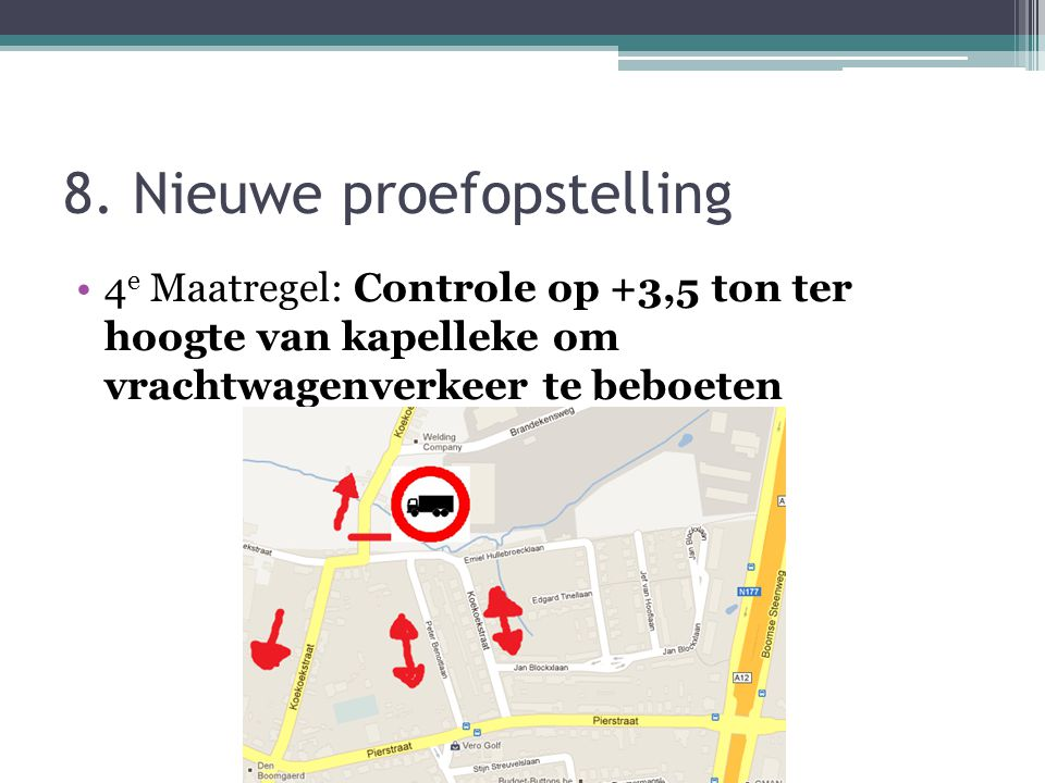 8. Nieuwe proefopstelling 4 e Maatregel: Controle op +3,5 ton ter hoogte van kapelleke om vrachtwagenverkeer te beboeten