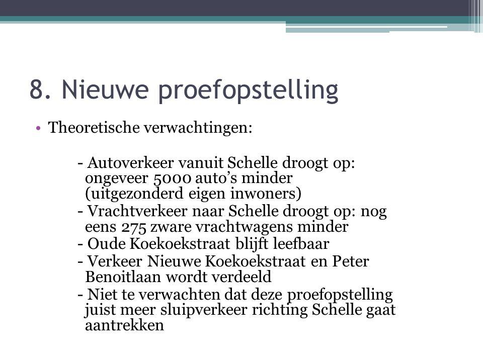 8. Nieuwe proefopstelling Theoretische verwachtingen: - Autoverkeer vanuit Schelle droogt op: ongeveer 5000 auto's minder (uitgezonderd eigen inwoners