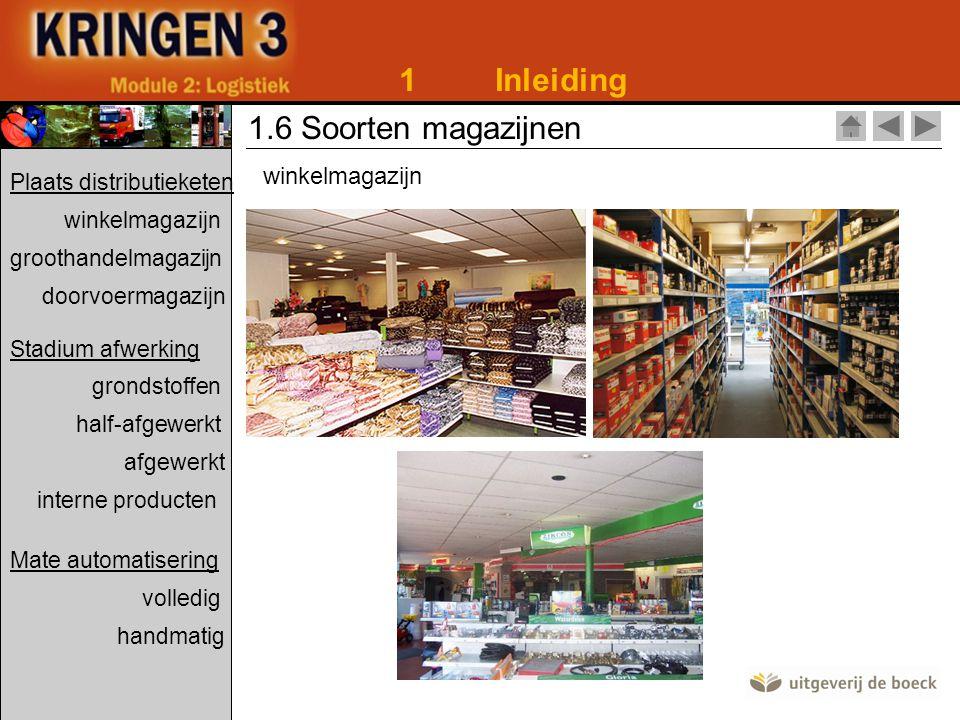 1Inleiding 1.6 Soorten magazijnen winkelmagazijn Plaats distributieketen winkelmagazijn groothandelmagazijn doorvoermagazijn Stadium afwerking grondst