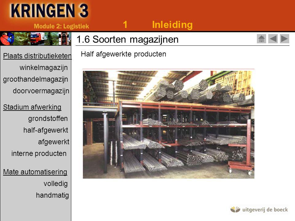 1Inleiding 1.6 Soorten magazijnen Half afgewerkte producten Plaats distributieketen winkelmagazijn groothandelmagazijn doorvoermagazijn Stadium afwerk