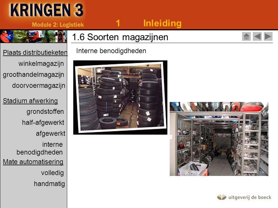 1Inleiding 1.6 Soorten magazijnen Interne benodigdheden Plaats distributieketen winkelmagazijn groothandelmagazijn doorvoermagazijn Stadium afwerking