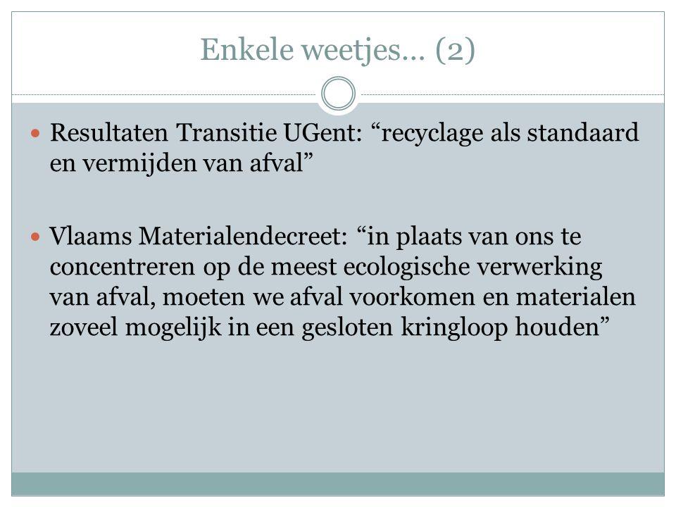 """Enkele weetjes… (2) Resultaten Transitie UGent: """"recyclage als standaard en vermijden van afval"""" Vlaams Materialendecreet: """"in plaats van ons te conce"""