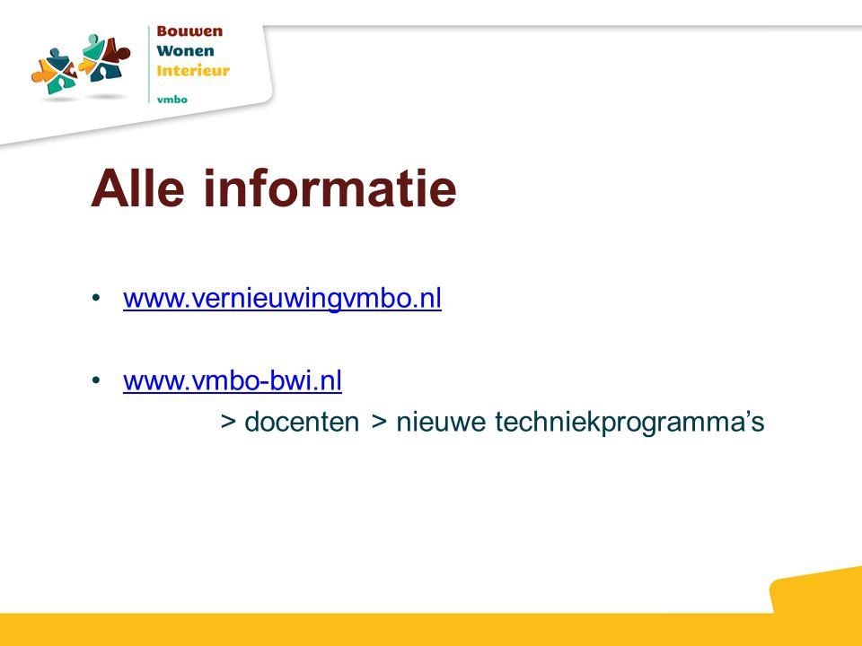 Alle informatie www.vernieuwingvmbo.nl www.vmbo-bwi.nl > docenten > nieuwe techniekprogramma's