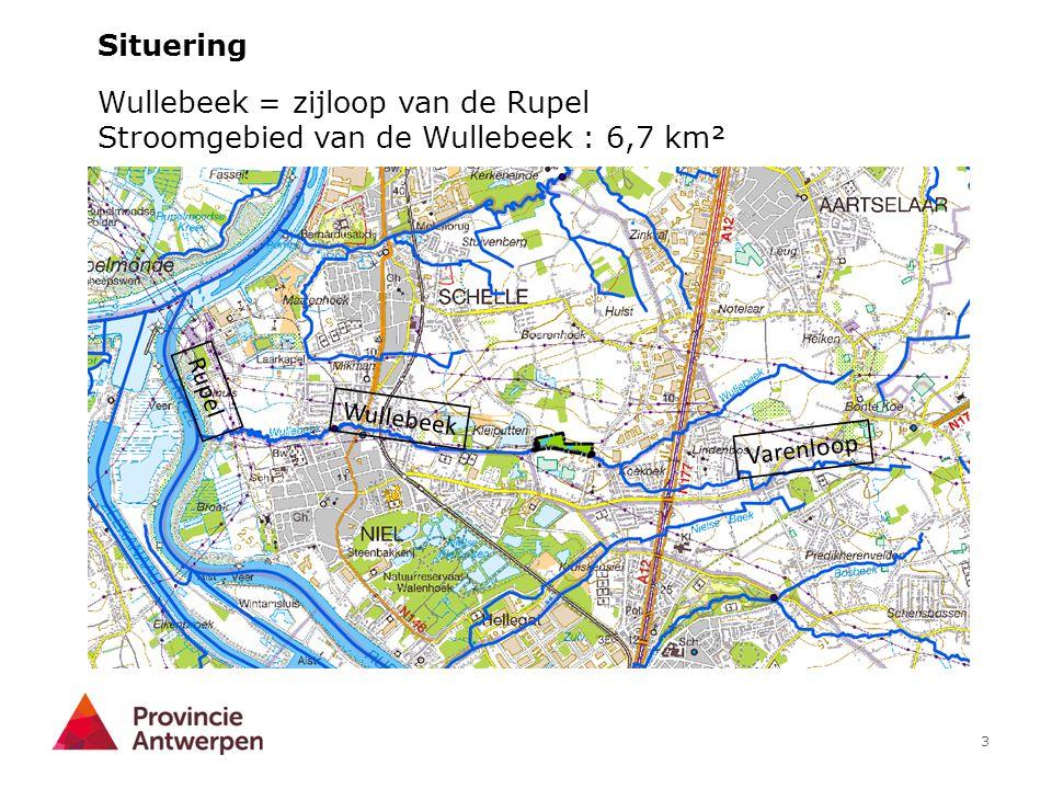 3 Wullebeek = zijloop van de Rupel Stroomgebied van de Wullebeek : 6,7 km² Situering Rupel Wullebeek Varenloop