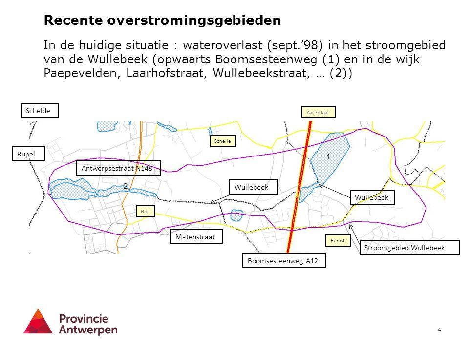 4 In de huidige situatie : wateroverlast (sept.'98) in het stroomgebied van de Wullebeek (opwaarts Boomsesteenweg (1) en in de wijk Paepevelden, Laarh