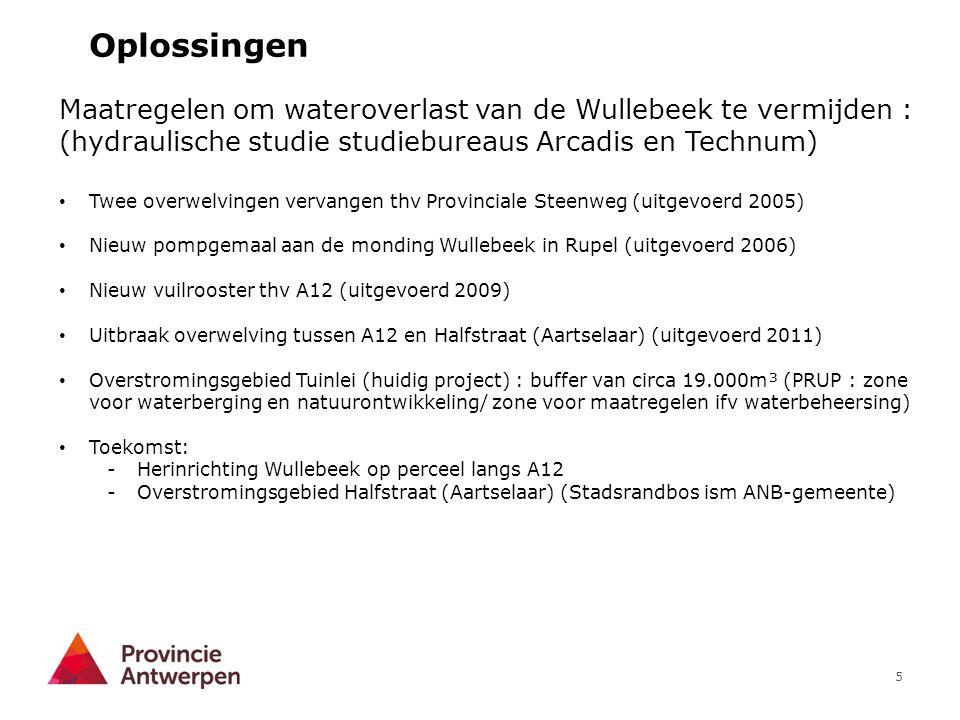 5 Oplossingen Maatregelen om wateroverlast van de Wullebeek te vermijden : (hydraulische studie studiebureaus Arcadis en Technum) Twee overwelvingen v