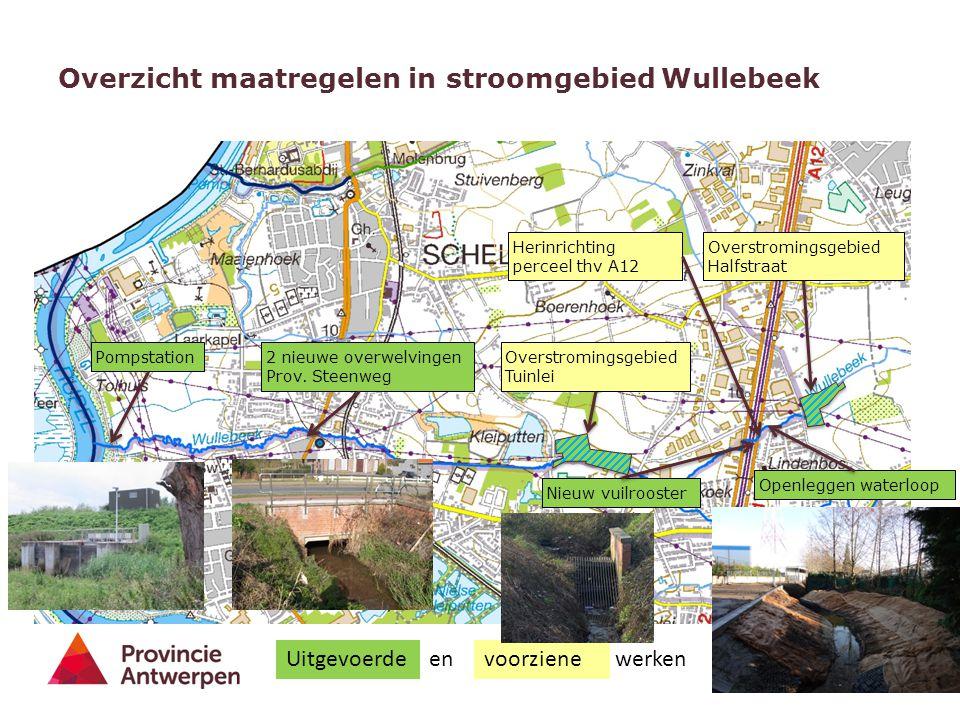 6 Overzicht maatregelen in stroomgebied Wullebeek Nieuw vuilrooster Overstromingsgebied Halfstraat 2 nieuwe overwelvingen Prov. Steenweg PompstationOv