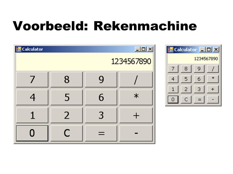 Twee aspecten: nUser-interface nWerking class Calculator : Form class Processor
