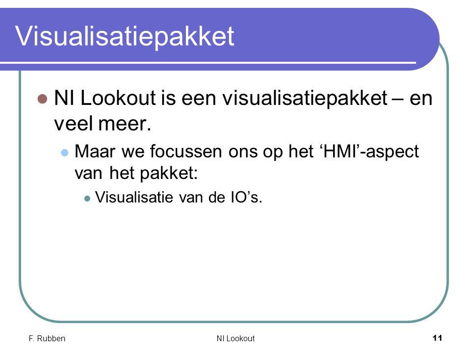 F. RubbenNI Lookout 11 Visualisatiepakket NI Lookout is een visualisatiepakket – en veel meer. Maar we focussen ons op het 'HMI'-aspect van het pakket