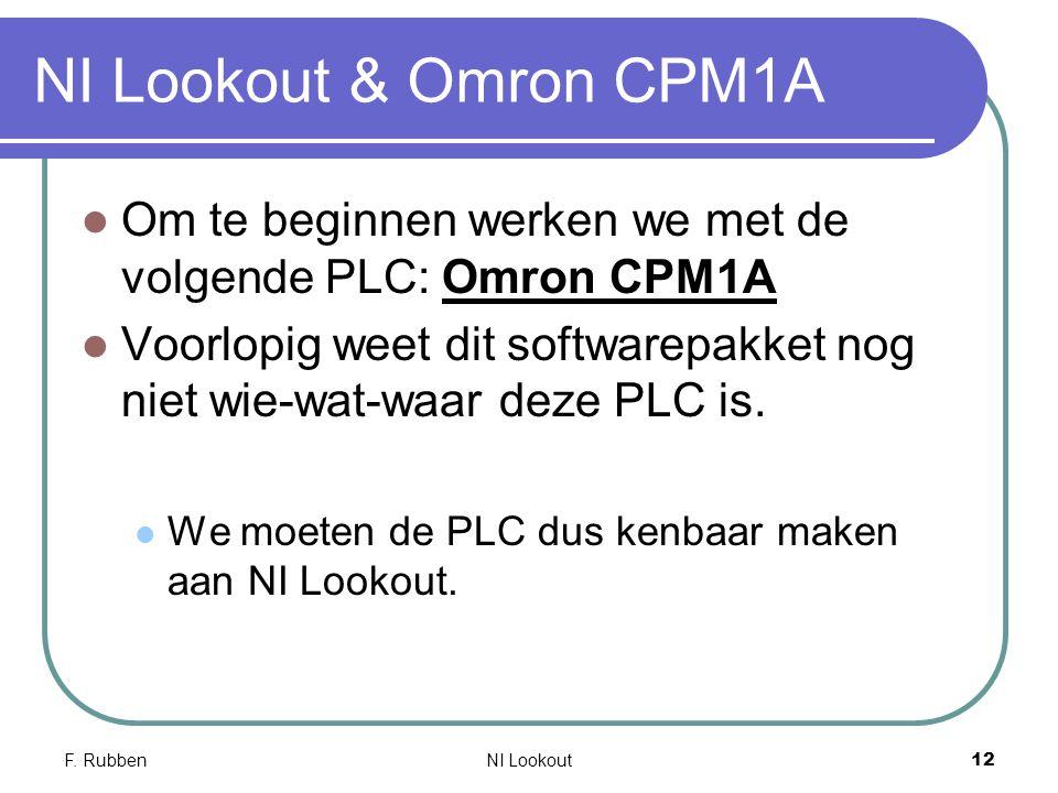 F. RubbenNI Lookout 12 NI Lookout & Omron CPM1A Om te beginnen werken we met de volgende PLC: Omron CPM1A Voorlopig weet dit softwarepakket nog niet w