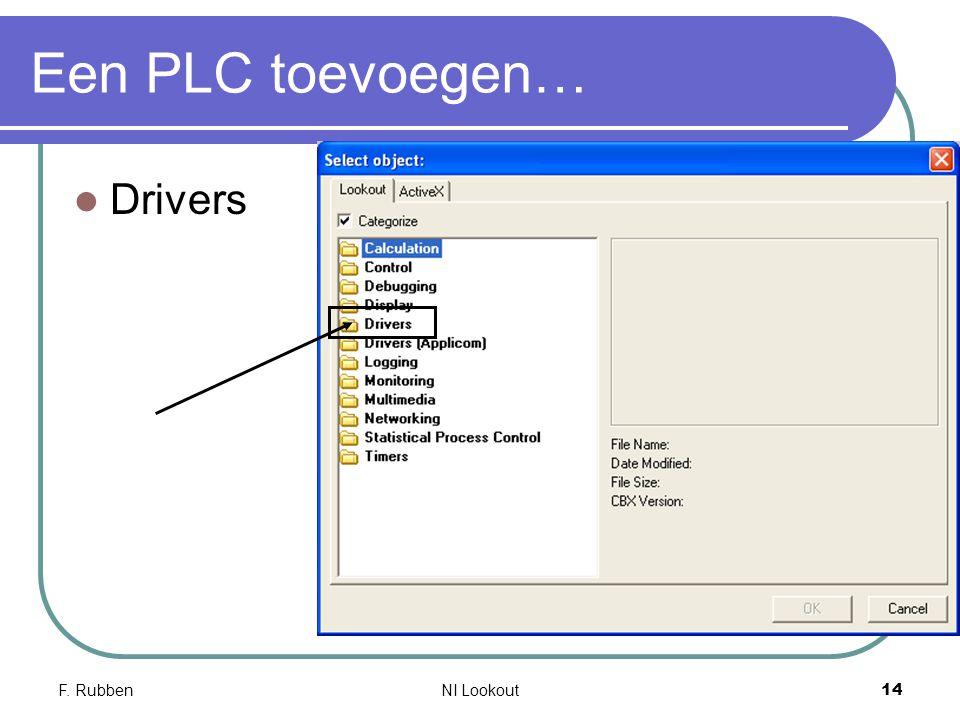 F. RubbenNI Lookout 14 Een PLC toevoegen… Drivers