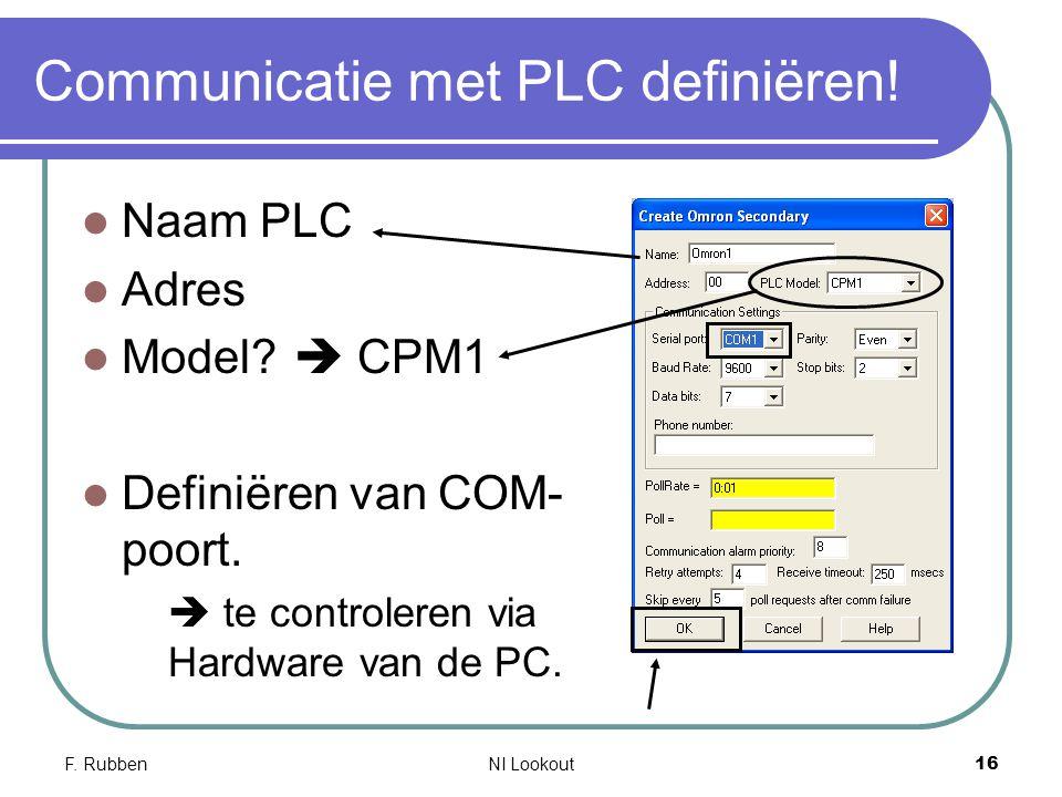F. RubbenNI Lookout 16 Communicatie met PLC definiëren! Naam PLC Adres Model?  CPM1 Definiëren van COM- poort.  te controleren via Hardware van de P