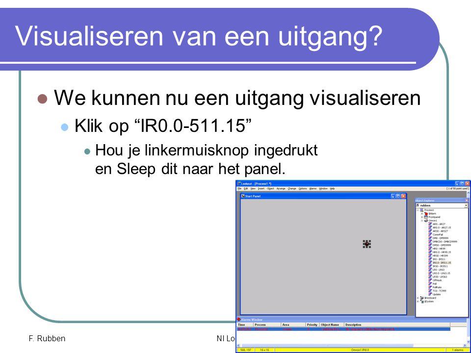 """F. RubbenNI Lookout 19 Visualiseren van een uitgang? We kunnen nu een uitgang visualiseren Klik op """"IR0.0-511.15"""" Hou je linkermuisknop ingedrukt en S"""