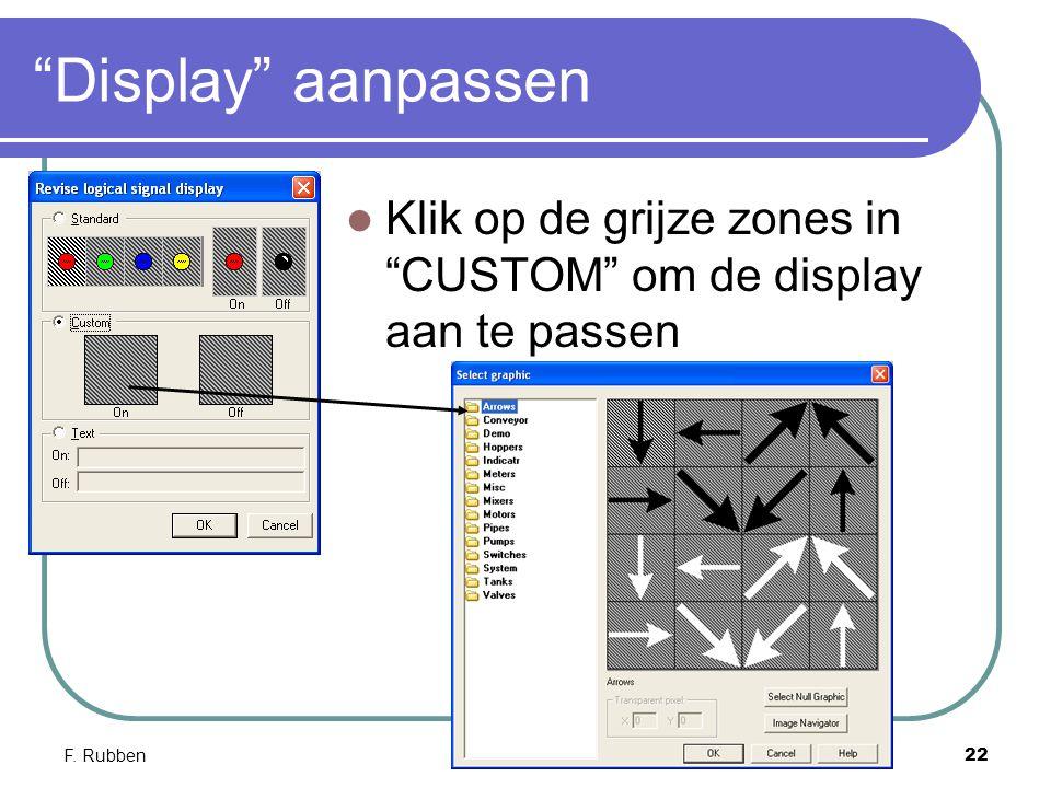 """F. RubbenNI Lookout 22 """"Display"""" aanpassen Klik op de grijze zones in """"CUSTOM"""" om de display aan te passen"""