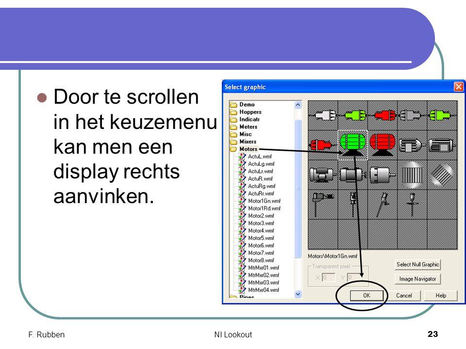 F. RubbenNI Lookout 23 Door te scrollen in het keuzemenu kan men een display rechts aanvinken.