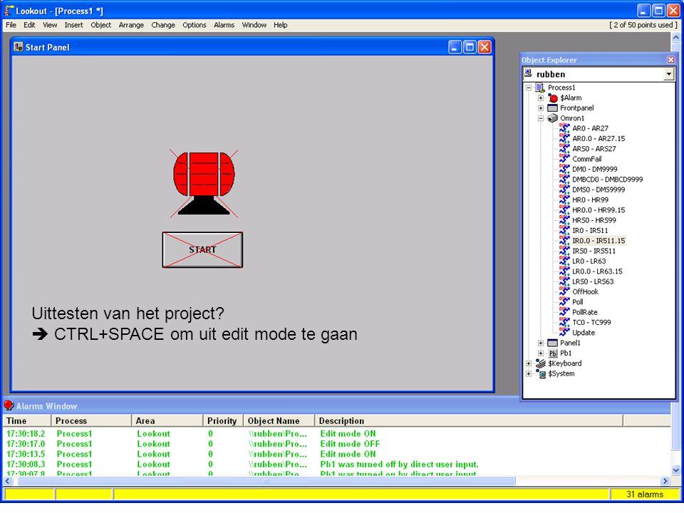 F. RubbenNI Lookout 33 Uittesten van het project?  CTRL+SPACE om uit edit mode te gaan