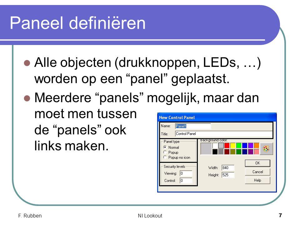 """F. RubbenNI Lookout 7 Paneel definiëren Alle objecten (drukknoppen, LEDs, …) worden op een """"panel"""" geplaatst. Meerdere """"panels"""" mogelijk, maar dan moe"""