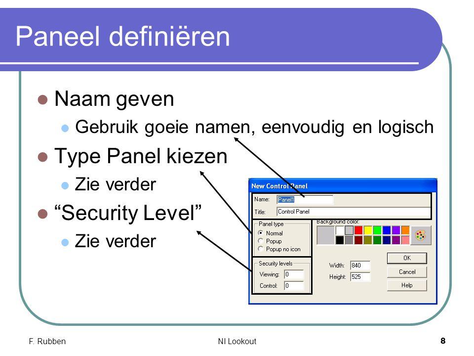 """F. RubbenNI Lookout 8 Paneel definiëren Naam geven Gebruik goeie namen, eenvoudig en logisch Type Panel kiezen Zie verder """"Security Level"""" Zie verder"""